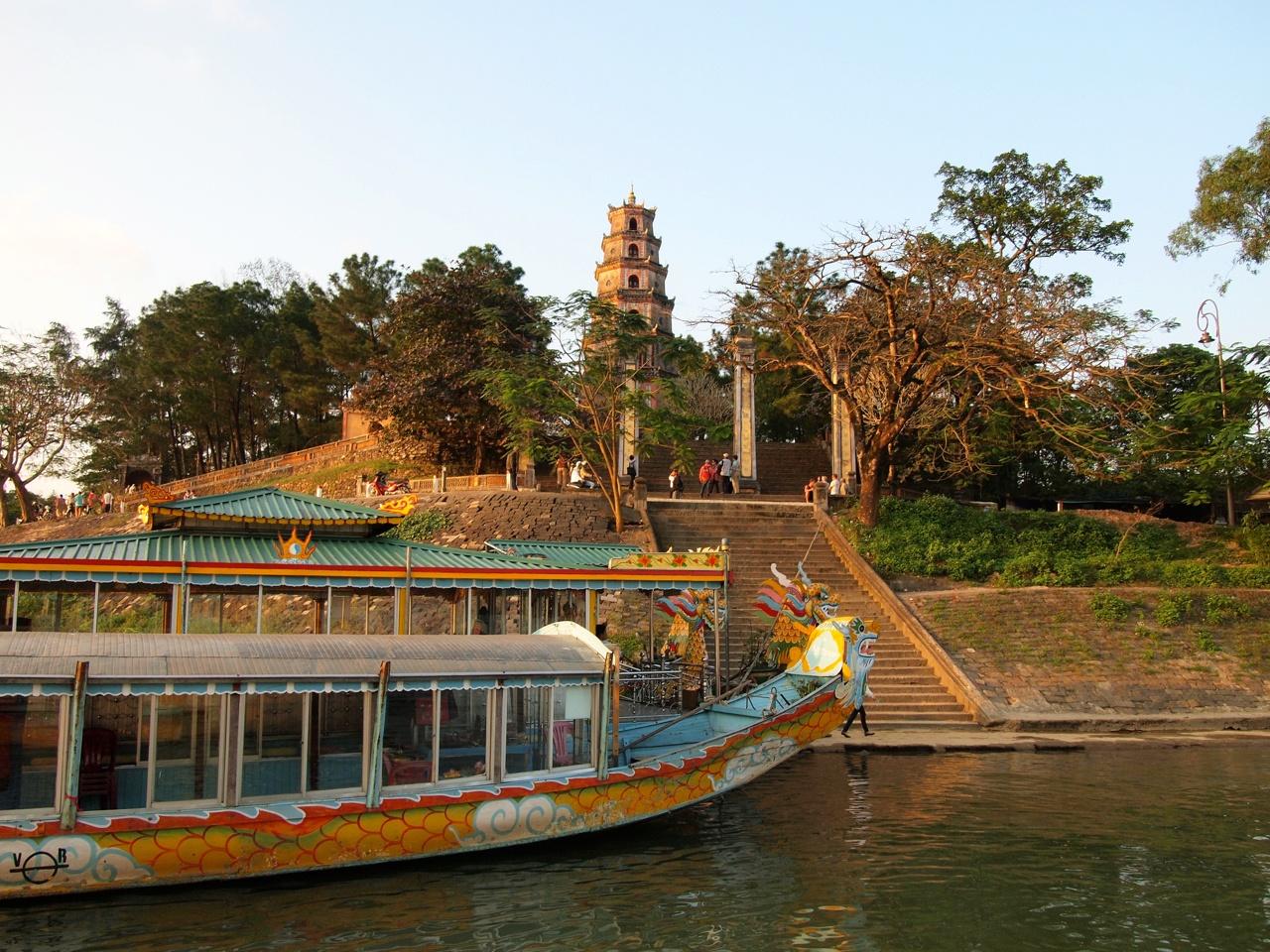 Dragon boats at Thien Mu Pagoda in Hue, Vietnam