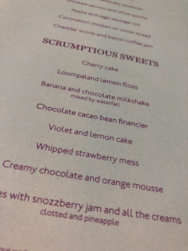Charlie and the Chocolate Factory tea menu