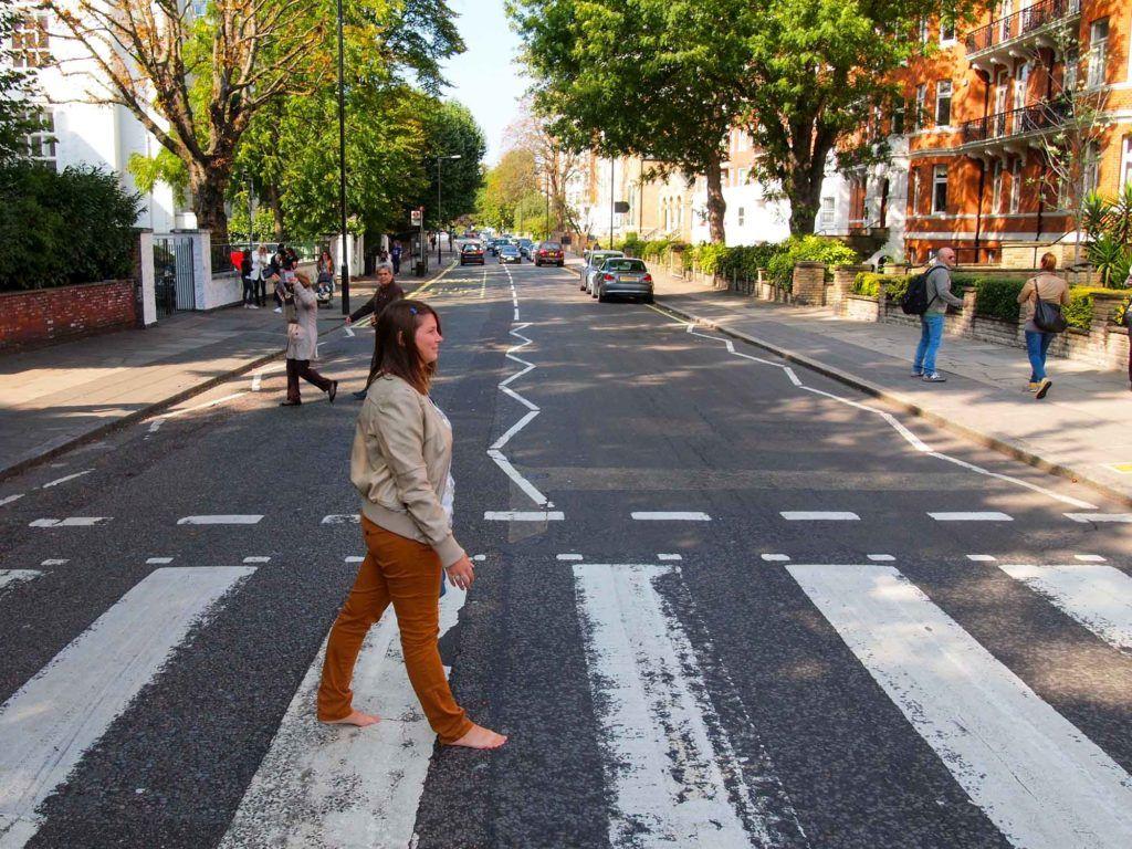 Amanda crossing Abbey Road