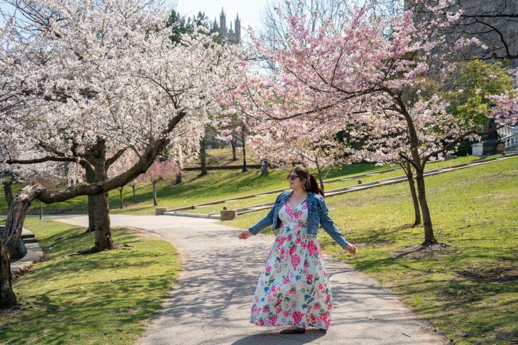 Amanda with cherry blossoms
