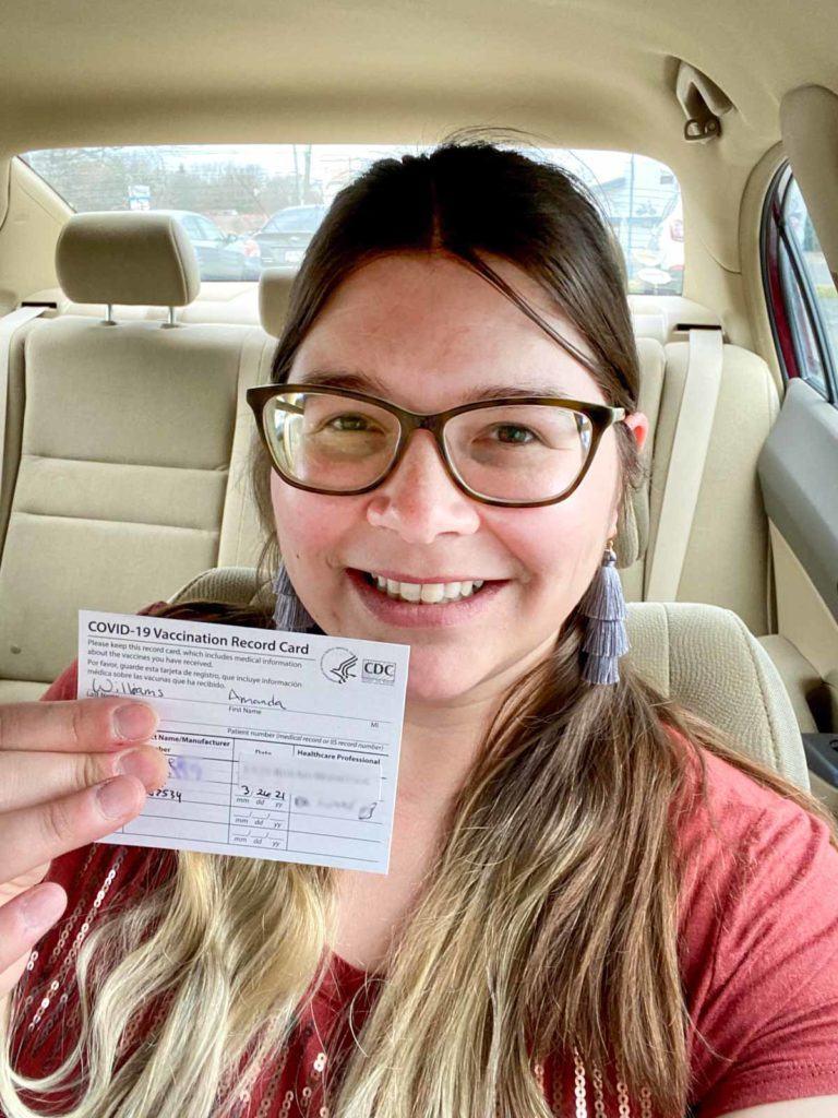 Amanda with vaccine card