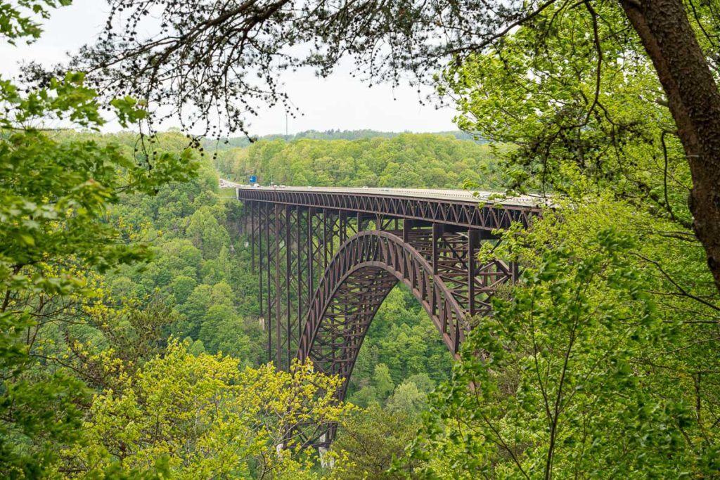 New River Gorge Bridge through the trees