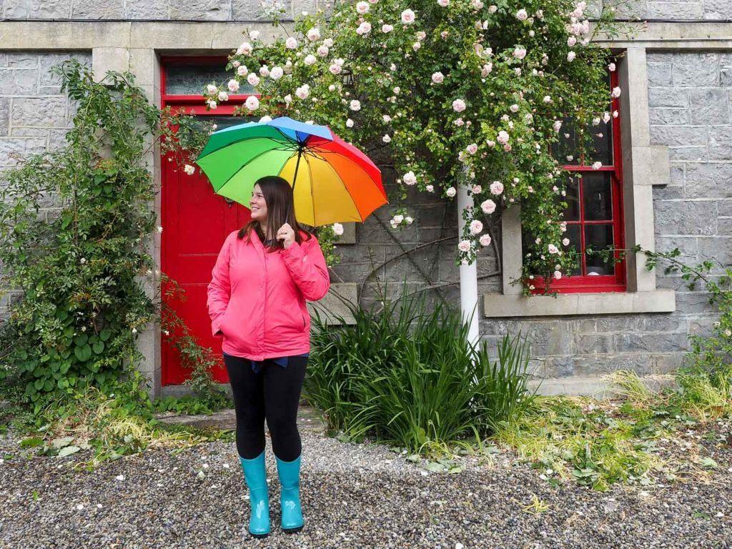 Amanda in rain gear in Ireland
