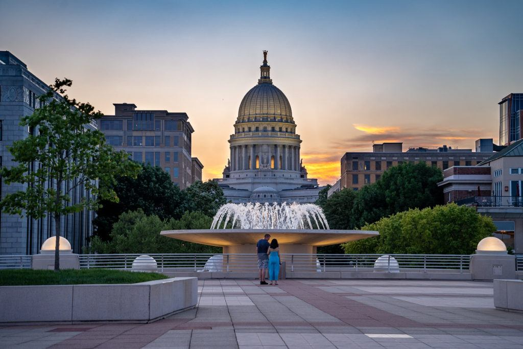 Wisconsin State Capitol at night in Madison