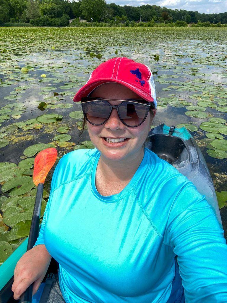 Amanda kayaking on Lake Wingra in Madison
